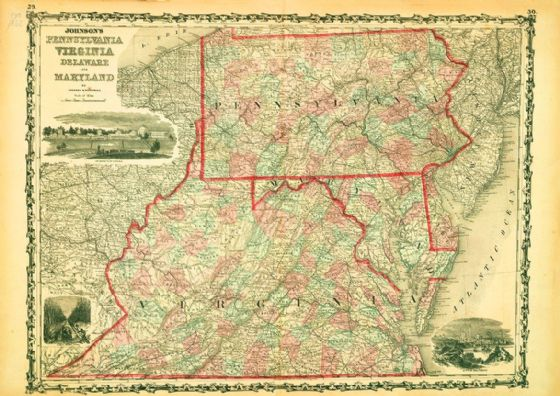 Map of Pennsylvania Virginia Delaware Maryland 1862 Print/Poster (5181)